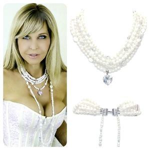 Multi Strand Pearl Necklace With Back Drops